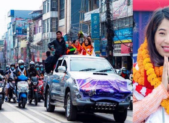 नेपाल स्टारको फाइनालिष्ट एलिना गुरुङलाई पोखरामा भव्य स्वागत
